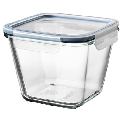 IKEA 365+ Food container with lid, square glass/plastic, 1.2 l