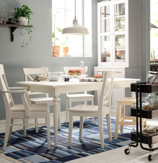 INGATORP / INGOLF Table and 6 chairs, white/Nordvalla beige, 155/215 cm