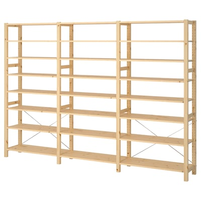 IVAR 3 sections/shelves, pine, 259x30x179 cm