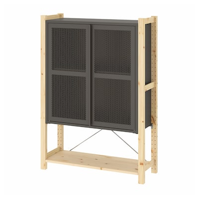 IVAR Cabinet with doors, pine/grey mesh, 89x30x124 cm