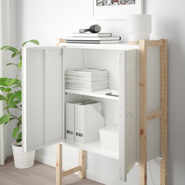 IVAR Cabinet with doors, white, 80x83 cm
