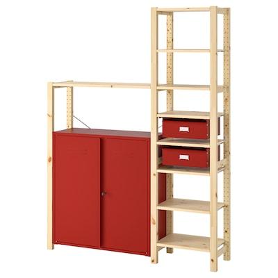 IVAR Shelving unit w cabinets/drawers, pine/red, 134x30x179 cm