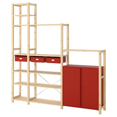 IVAR Shelving unit w cabinets/drawers, pine/red, 219x30x226 cm