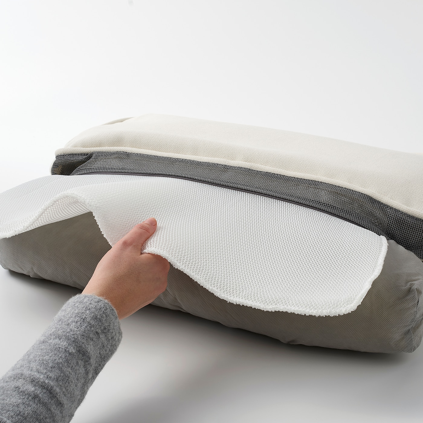 cushion for high-backed chair block stripes in anthracite // white pad Garden chair cushion seat