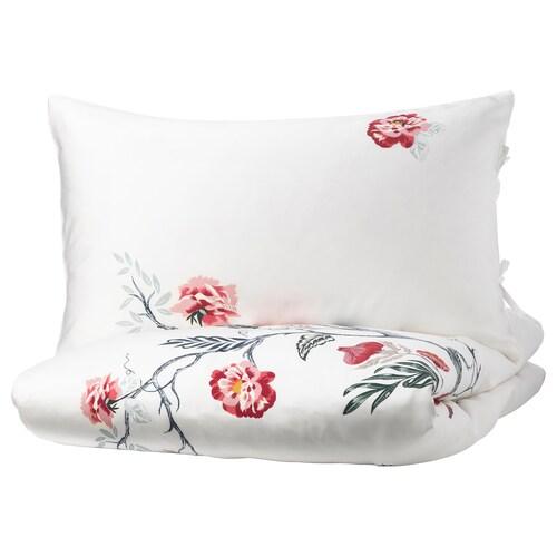 JÄTTELILJA quilt cover and 4 pillowcases white/floral patterned 310 /inch² 4 pieces 200 cm 200 cm 50 cm 80 cm