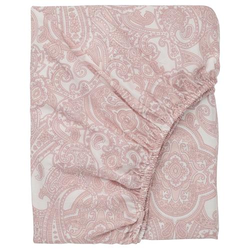 JÄTTEVALLMO fitted sheet white/pink 152 /inch² 200 cm 90 cm