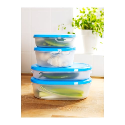JÄMKA Food container with lid, set of 4   Several empty food containers can be stacked inside one another to save space in your cabinets.