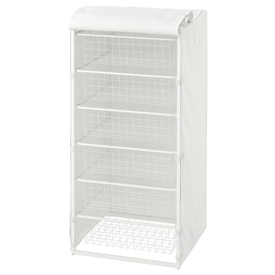 JONAXEL Frame with wire baskets/cover, white, 50x51x104 cm