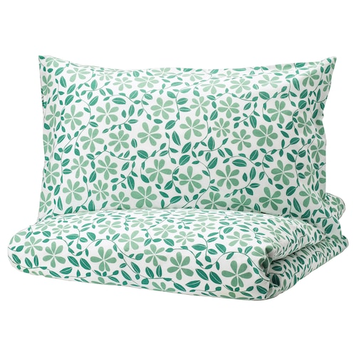 JUVELBLOMMA quilt cover and 2 pillowcases white/green 104 /inch² 2 pieces 220 cm 240 cm 50 cm 80 cm