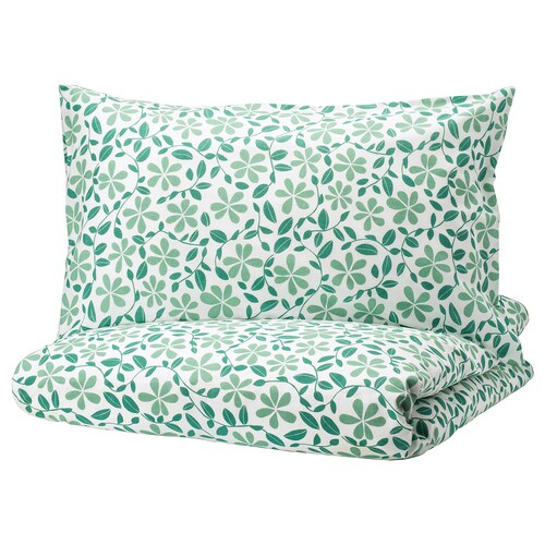 JUVELBLOMMA quilt cover and 2 pillowcases white/green 104 /inch² 2 pieces 200 cm 200 cm 50 cm 80 cm