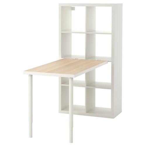 KALLAX desk combination white stained oak effect/white 77 cm 159 cm 147 cm