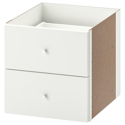 KALLAX Insert with 2 drawers, high-gloss white, 33x33 cm