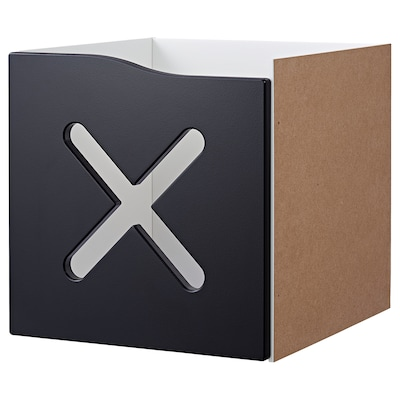 KALLAX Insert with door, black/x-pattern, 33x33 cm