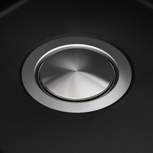 KILSVIKEN Inset sink, 1 bowl with drainboard, black/quartz composite, 72x46 cm