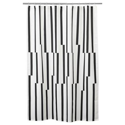 KINNEN Shower curtain, white/black, 180x200 cm
