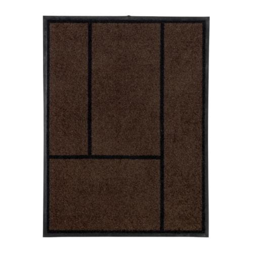 KÖGE Door mat   Easy to clean; shake, vacuum or rinse.  Rubber on the underside; adds weight to the rug and keeps it firmly in place.