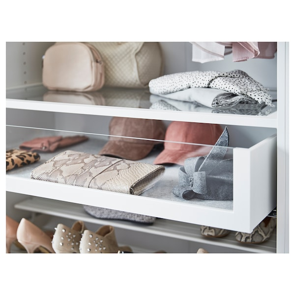 KOMPLEMENT Drawer with glass front, white, 50x58 cm