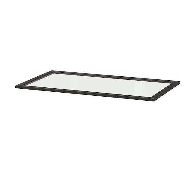 KOMPLEMENT Glass shelf, black-brown, 100x58 cm