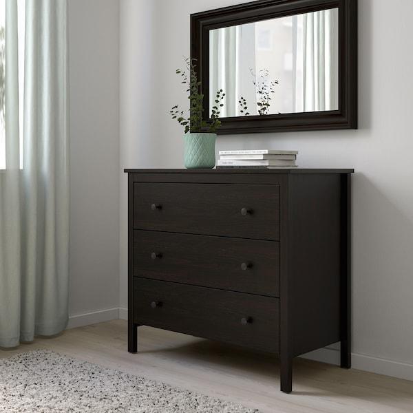 KOPPANG Chest of 3 drawers, black-brown, 90x83 cm