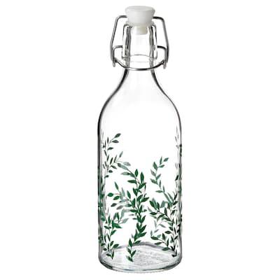 KORKEN Bottle with stopper, clear glass/patterned green, 0.5 l