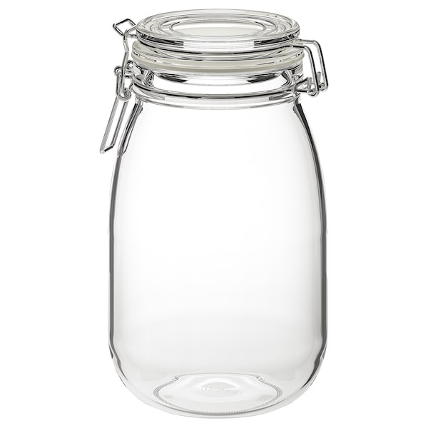 KORKEN Jar with lid, clear glass, 1.8 l