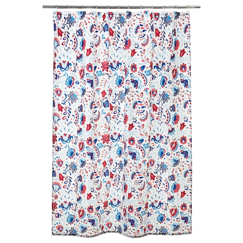 KRATTEN shower curtain white/multicolour 116 g/m² 200 cm 180 cm 3.60 m² 116 g/m²