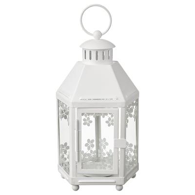 KRINGSYNT Lantern for tealight, in/outdoor, white, 21 cm