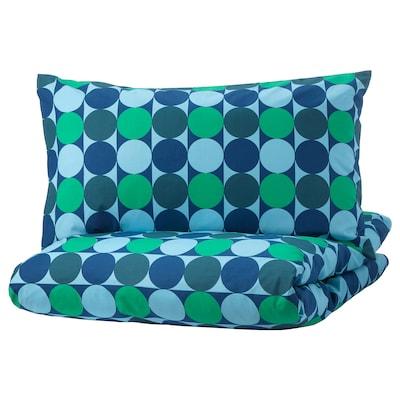 KROKUSLILJA Quilt cover and 2 pillowcases, blue/green, 150x200/50x80 cm