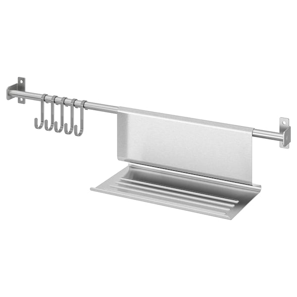 KUNGSFORS Rail with 5 hooks and tablet stand, stainless steel, 56 cm