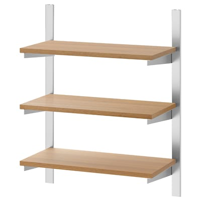 KUNGSFORS Suspension rail with shelves, stainless steel/ash, 60 cm
