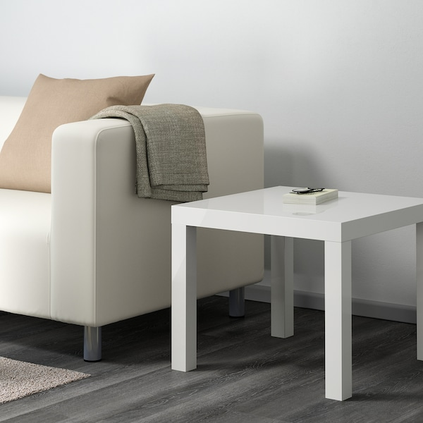 LACK Side table, high-gloss white, 55x55 cm
