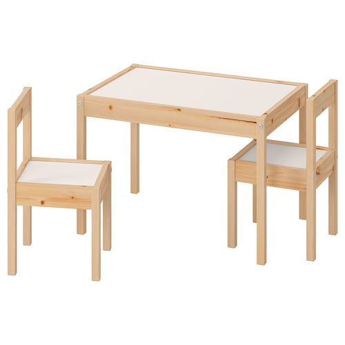 LÄTT children's table with 2 chairs white/pine 63 cm 48 cm 45 cm 28 cm 28 cm 28 cm