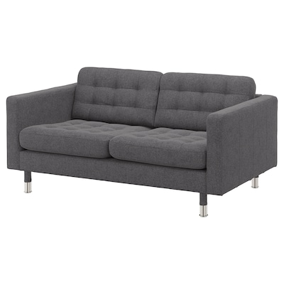 LANDSKRONA 2-seat sofa, Gunnared dark grey/metal
