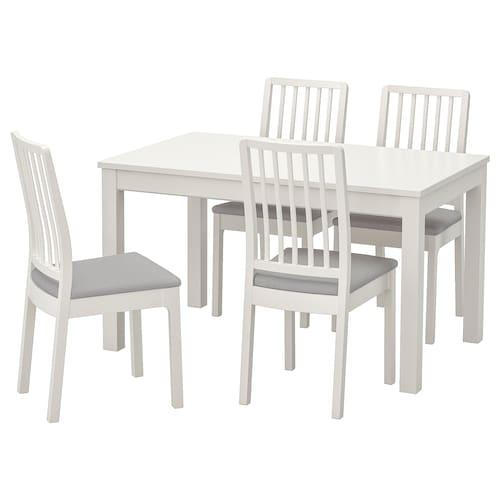 LANEBERG / EKEDALEN table and 4 chairs white/white light grey 190 cm 130 cm 80 cm