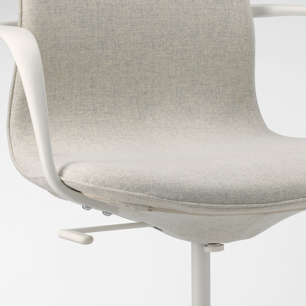 LÅNGFJÄLL Conference chair with armrests, Gunnared beige/white
