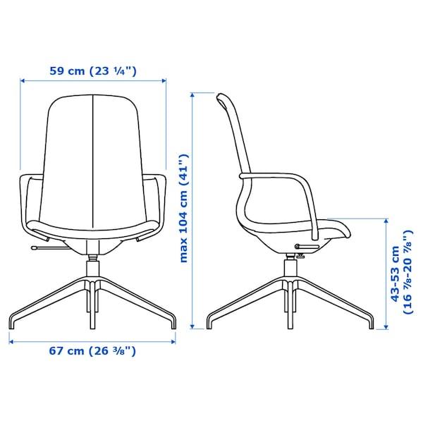 LÅNGFJÄLL Conference chair with armrests, Gunnared dark grey/black