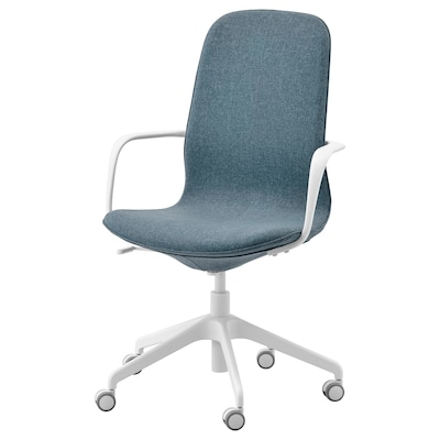 LÅNGFJÄLL Office chair with armrests, Gunnared blue/white