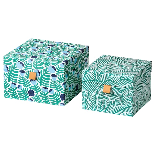 LANKMOJ decoration box, set of 2 green/blue/floral patterned