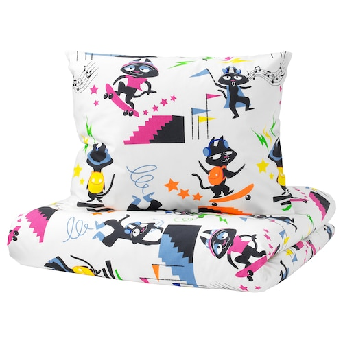 LATTJO quilt cover and pillowcase cat/multicolour 200 cm 150 cm 50 cm 80 cm