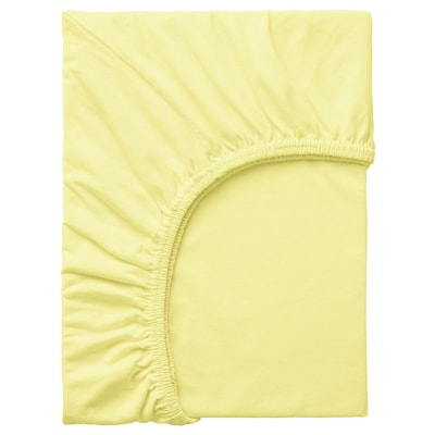 LEN Fitted sheet, yellow, 80x165 cm