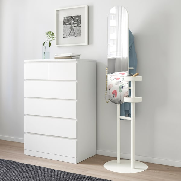 LIERSKOGEN Valet stand with mirror, white, 50x185 cm
