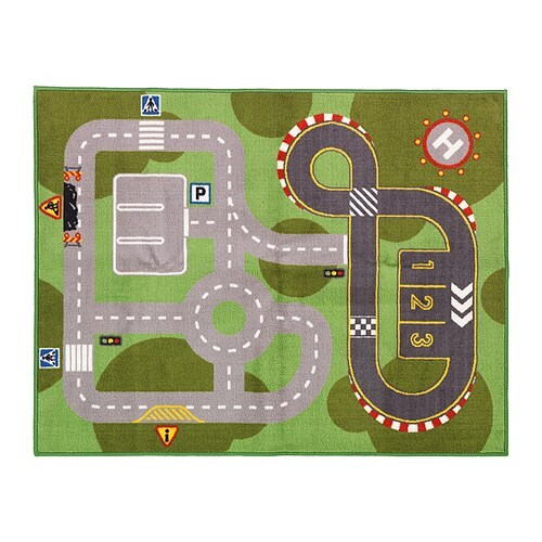 LILLABO Play mat   Latex backing; keeps the rug firmly in place when the child runs/plays on it.