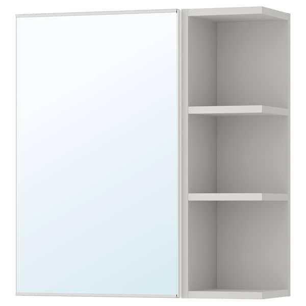 LILLÅNGEN Mirror cabinet 1 door/1 end unit, white/grey, 59x21x64 cm
