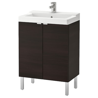 LILLÅNGEN / TÄLLEVIKEN Washbasin cabinet with 2 doors, black-brown/Ensen tap, 61x41x87 cm