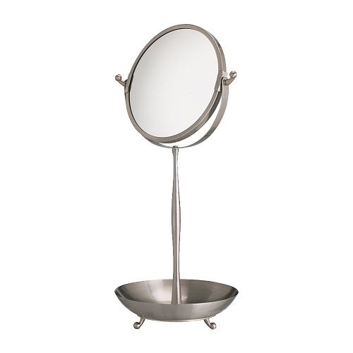 LILLHOLMEN Table mirror   One side with magnifying mirror glass.  Water-resistant; suitable for use in high humidity areas.