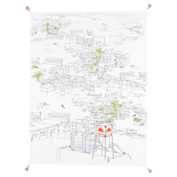 LOKALT Throw, white multicolour/handmade, 120x160 cm