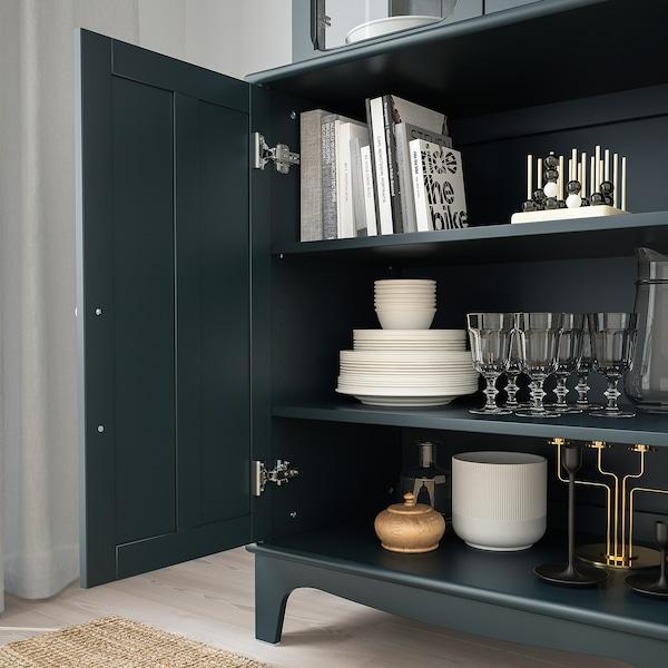 LOMMARP Cabinet with glass doors, dark blue-green, 86x199 cm