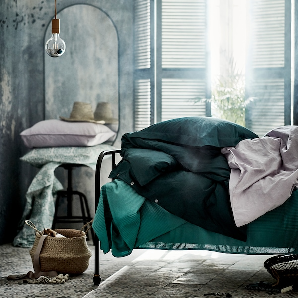 LUKTJASMIN Quilt cover and 2 pillowcases, dark green, 240x220/50x80 cm