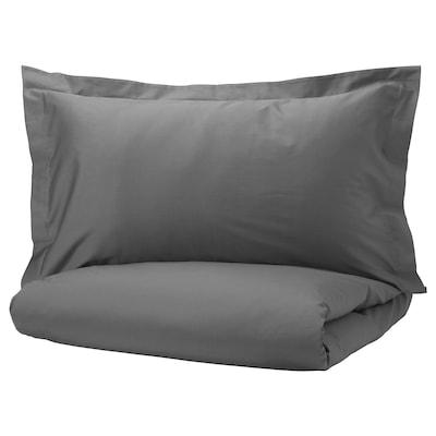 LUKTJASMIN Quilt cover and 2 pillowcases, dark grey, 240x220/50x80 cm