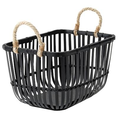 LUSTIGKURRE Basket with handles, black bamboo
